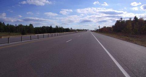 Muskoka, Ontario, Canada October 2016 4K POV Driving on the highway in Muskoka Canada cottage country