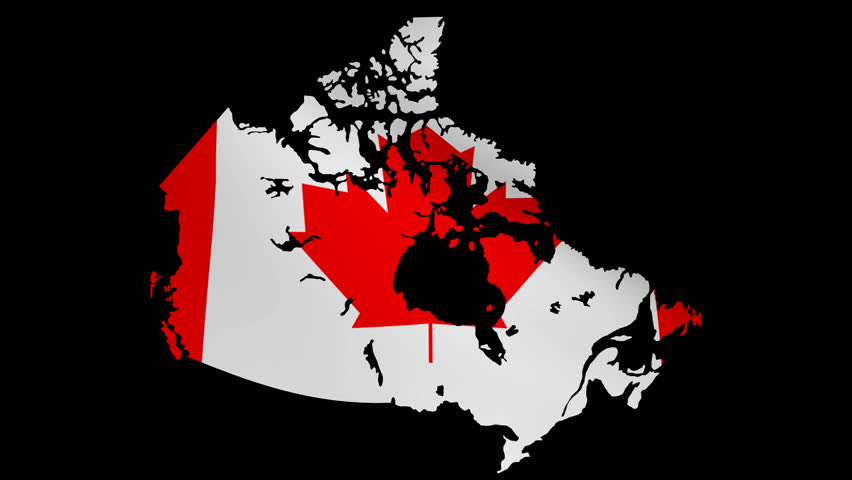 Canada Map With Rippling Flag Animation Stock Footage Video - Canada map with flag