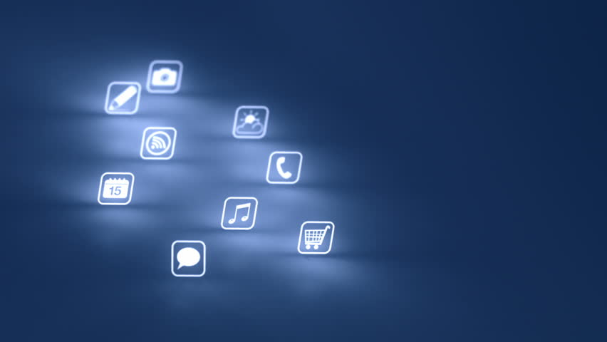 Glowing Mobile App Icons Blue Two Clips