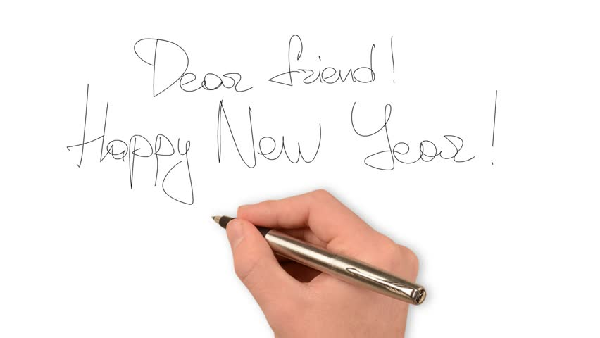 hand of w writing goal happy birthday on paper stock footage  hand writing new year greetings hd stock footage clip