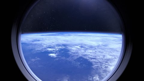 Earth as seen through window of International Space Station ISS