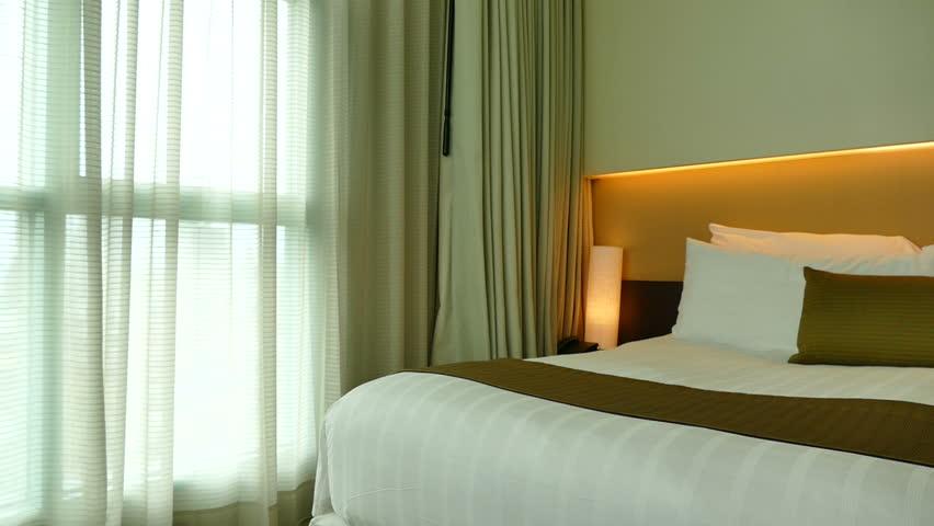 Modern Hotel Bedroom sliding door mirror wardrobe in modern hotel bedroom interior