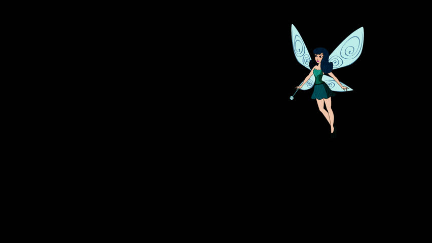 Cartoon. Fairy flying , waves his magic wand and flies, pixie, Alpha Channel