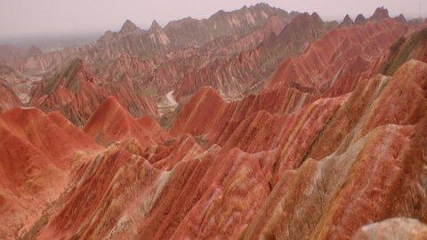 View of beautiful rainbow mountains in Zhangye Danxia Landform, China  (January, 2016-China)