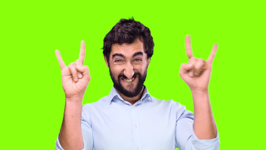 young crazy man disagreement pose on chroma key background