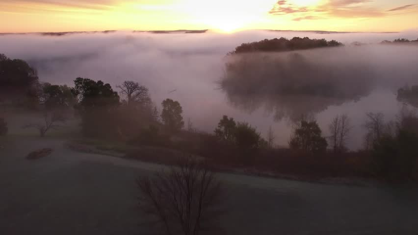 Surreal dawn with thick fog blanketing river valley, aerial view. A careful observer can see a bald eagle perched on a branch far below.