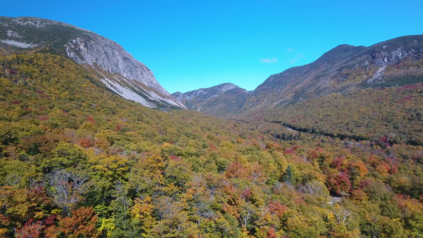 Aerial of Franconia Notch, New Hampshire in Fall 2016.