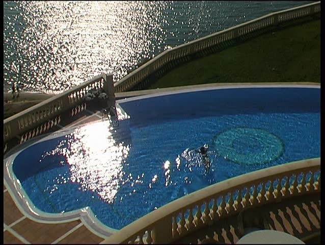 Seaside resort hotel pool, clip 4