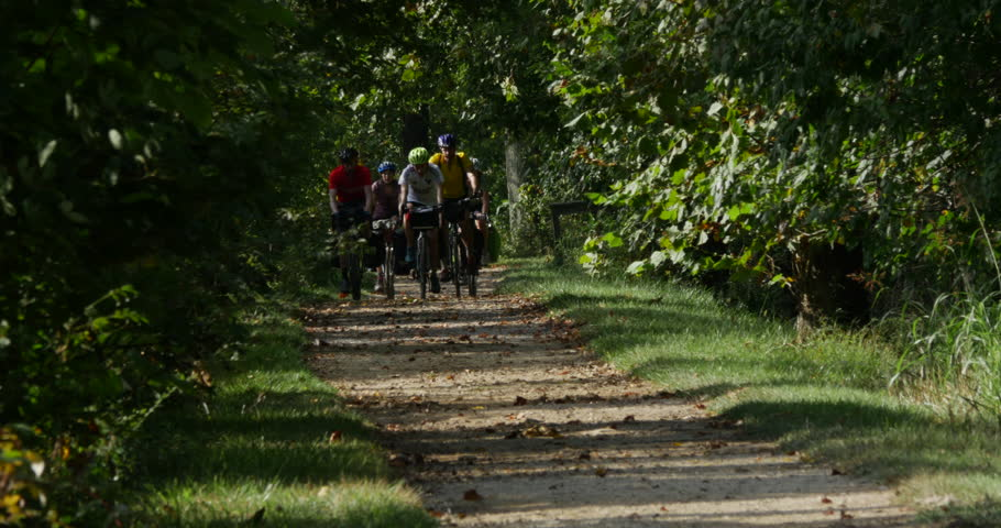 MARYLAND OCT. 2016 Bike Riders Riding Together on Path Forest, 4K | Shutterstock HD Video #20904163
