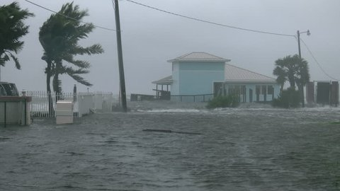 Cocoa Beach, FL/US - October 8, 2016 [4K Hurricane Matthew winds storm surge flooding homes and street with blowing palms and water during peak hurricane winds.]