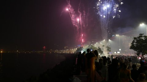Mumbai, India-October 30, 2016: 4k video footage of Diwali celebration at Marine drive Mumbai. Firecrackers creating lot of air pollution due to smoke at night on road side.