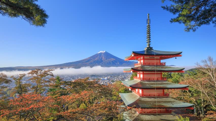 4K Timelapse of Mt. Fuji with Chureito Pagoda in autumn, Fujiyoshida, Japan | Shutterstock HD Video #20953243