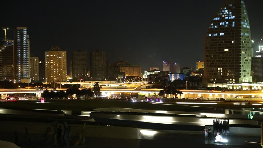 Baku, Azerbaijan - September 22, 2016: Heydar Aliyev Avenue. Multi-level road junction with heavy car traffic. Night view of the city of Baku - the capital of the Republic of Azerbaijan | Shutterstock HD Video #20959273