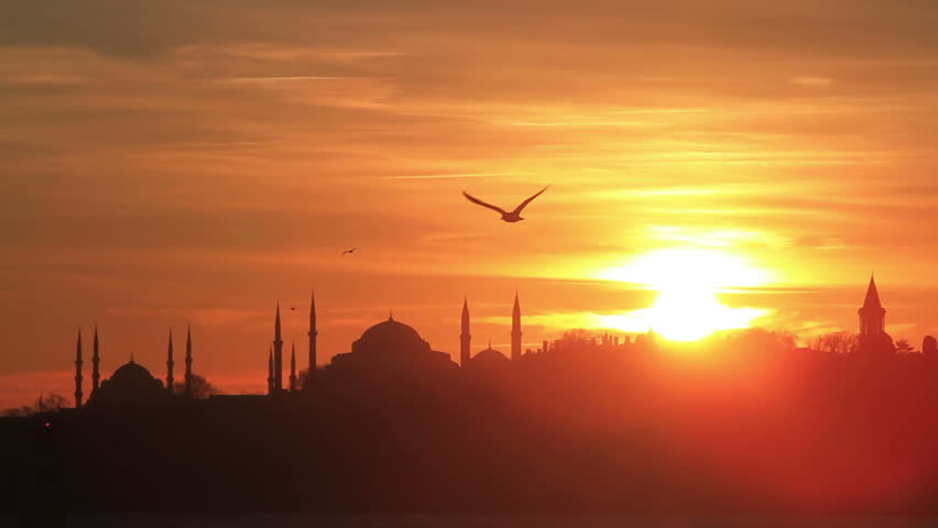 Istanbul, Sarayburnu. In the distance are such landmarks as Blue Mosque, Hagia
