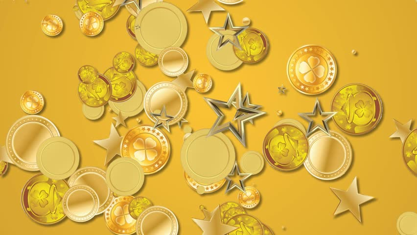 gold coins falling abstract animated motion background