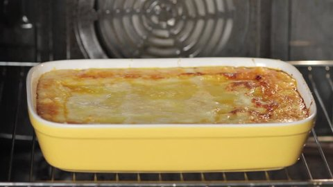 Lasagne in an oven