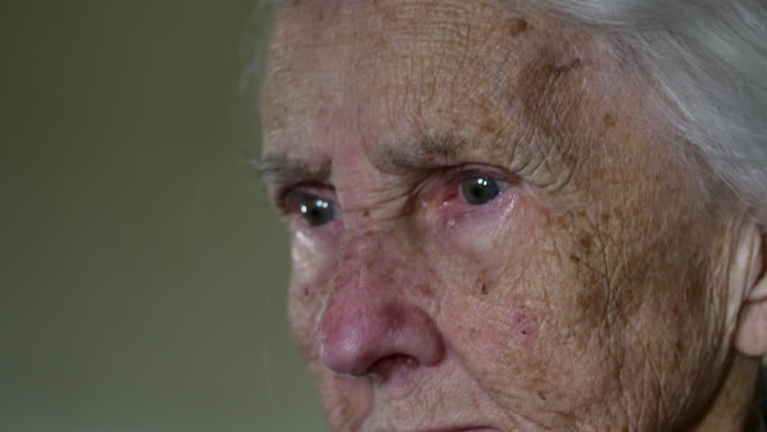 Portrait Of A Hundred Years Old Woman, Centenarian, Close Up, Hand Held Camera