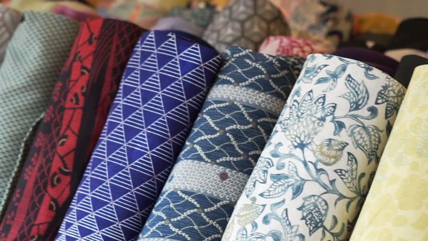 Japanese yukata and kimono fashion fabric roll selling at shop in Japan