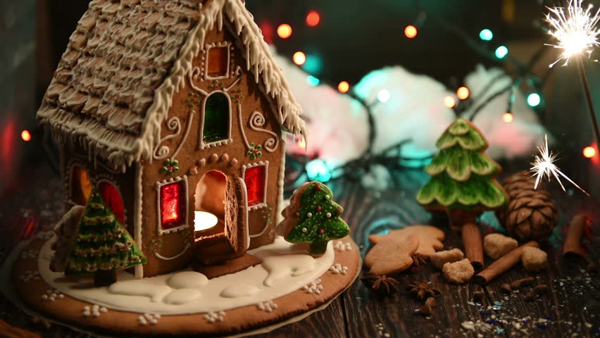 Christmas Gingerbread House Background.Gingerbread House With Lights On Stock Footage Video 100 Royalty Free 21096523 Shutterstock