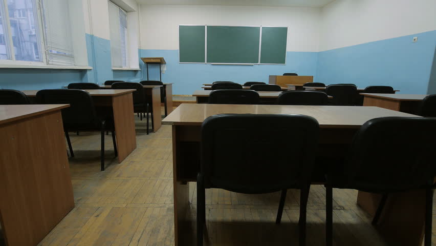 Hd00:11Empty Classroom At School. Blackboard, Wooden Desks, Black Chairs