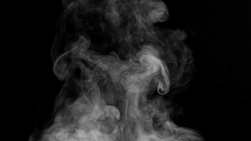 White Steam Rises from the Pan. White Steam rises from a large pot that is behind the scenes. Black background. Filmed at a speed of 240fps  #21106813