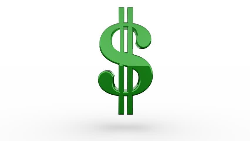 Three Green Dollar Signs Spinning Stock Footage Video