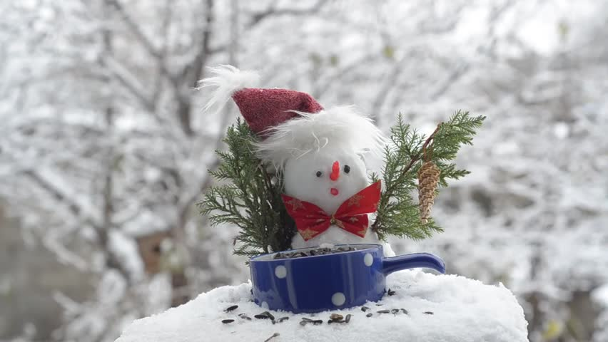 Snowman in hat and great Tits eating seeds. Fly and jump on the branches.