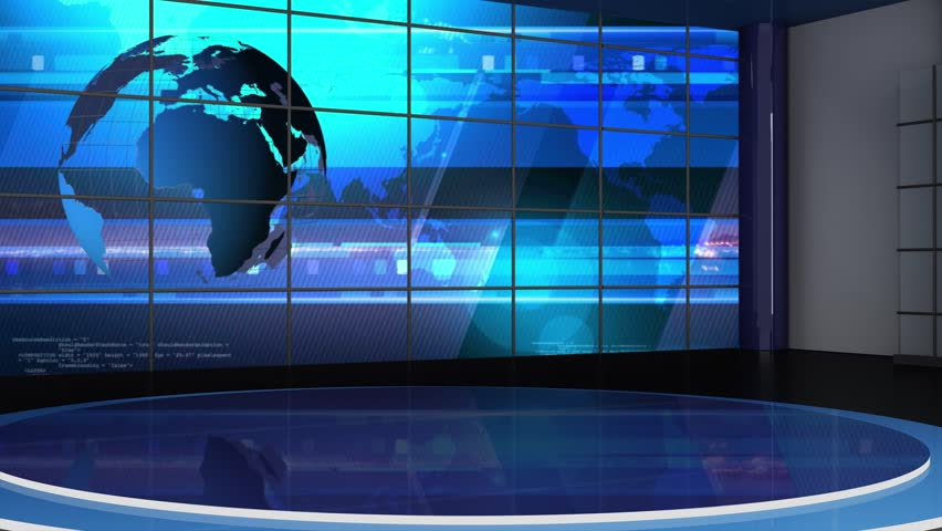 News TV Studio Set - Virtual Green Screen Background Loop #21189433
