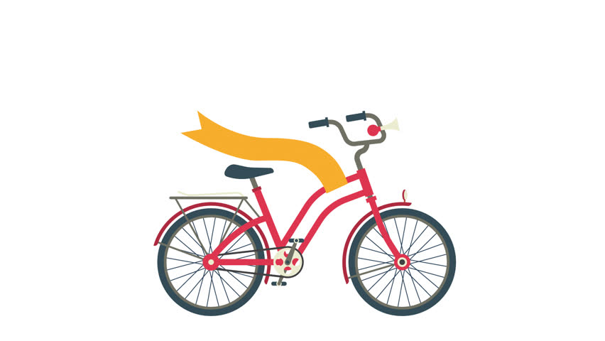 4d8ea9755a1 Red city bike with a yellow ribbon evolving. Looped animation with alpha  channel. Transparent background.