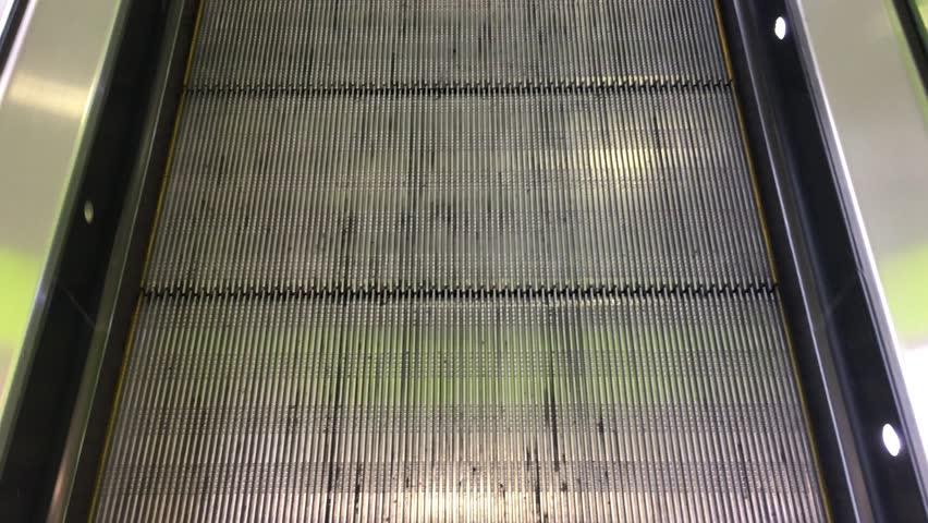 Moving Down In Modern Escalator. Escaltor. Escaltor Moving. Escaltor  Footage. Escaltor 4K