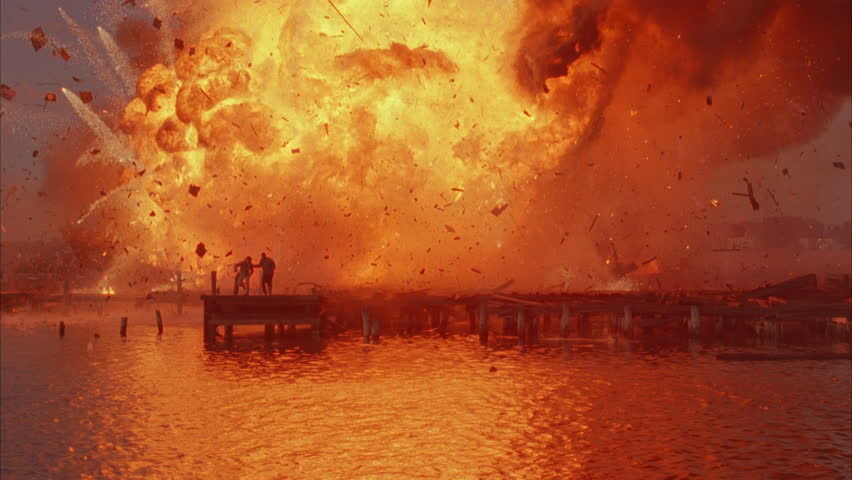 Sunrise Sunset From water, exploding docked old industrial cruise ship 2 men dock toward water, jump explosions, burning boat, newsreel, playback, terrorism