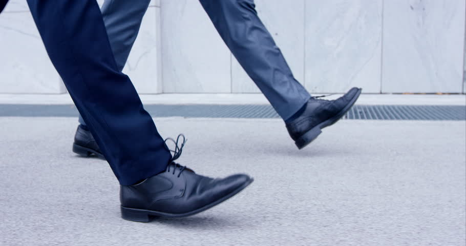 Slow-Mo Close-Up On Feet Of Two Business Men Walking In Traditional Custom | Shutterstock HD Video #21301273