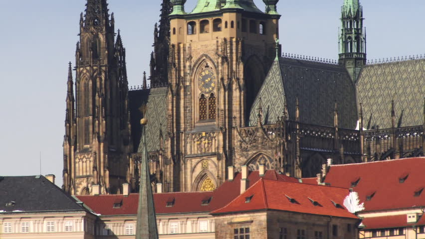 Zoom out on St Vitus's Cathedral, Prague, Czech Republic