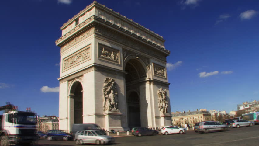 WIDE SHOT, PAN, Arc de Triomphe, Paris, France