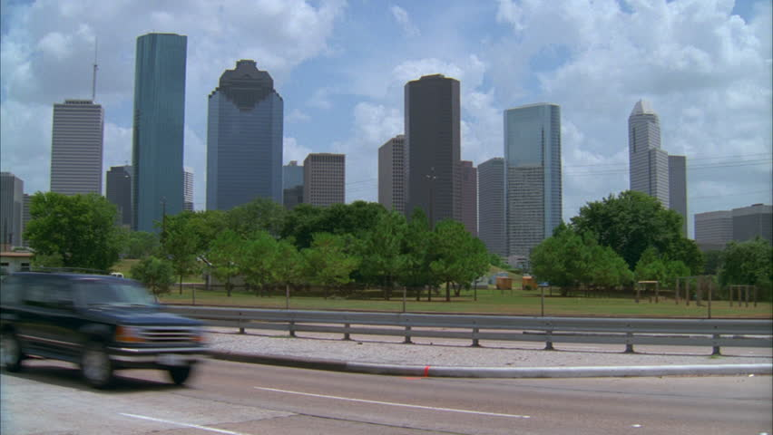 Day Tilt Up Left Houston Skyline With High Modern Office Buildings Interstate Foreground