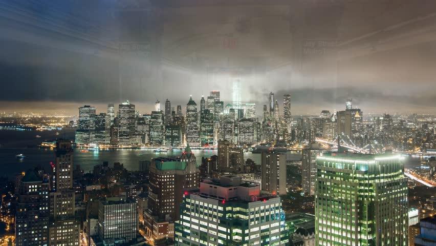 New York Brooklyn rooftop Cloudy night sky Timelapse