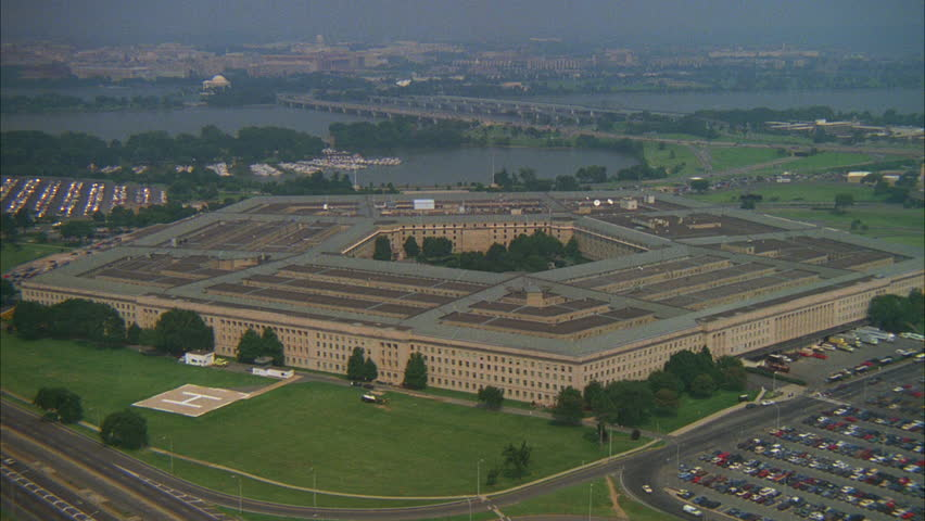 Day Aerial Holding Pentagon See Washington Monument distance beginning Zooms in, Washington DC