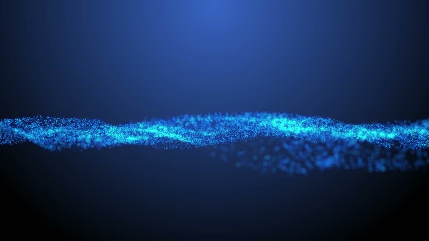 Animated vector rippling water with blurred background. Looped blue waving particles in slow motion. Ultra High Definition 4K seamless loop video.