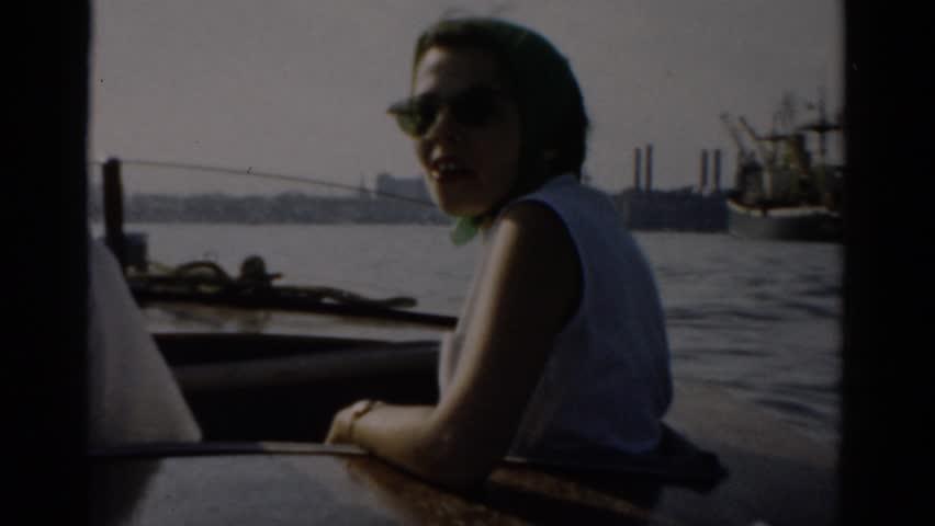 CATSKILL, NEW YORK 1957: couple boat along shipyard in harbor | Shutterstock HD Video #21379063