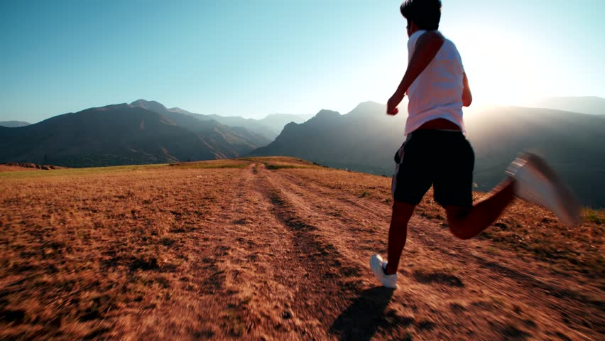 mountain landscape Asian running man Jogging in the morning slow motion