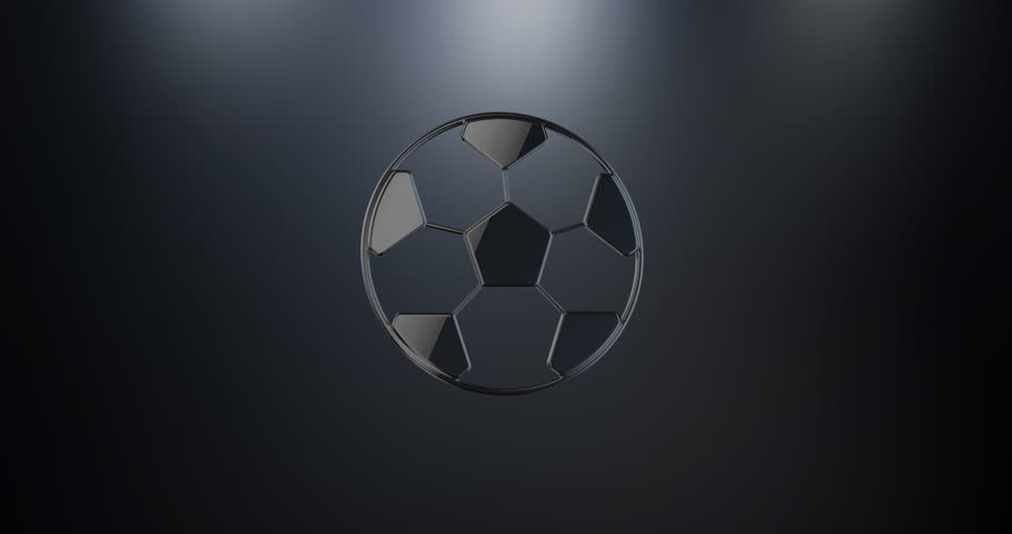 Animated Football Black 3d Icon Stock Footage Video 100 Royalty