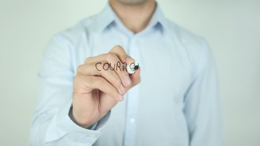Courage, Man Writing on Screen | Shutterstock HD Video #21473104