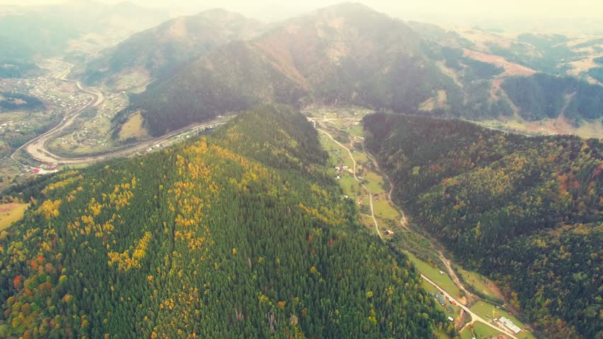 Aerial Drone Footage Turn Left And 360 Degree Panorama Shooting Of Autumn Mountains With Forests