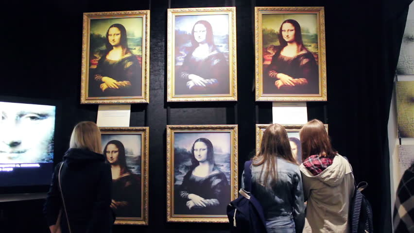 Non Original Mona Lisa, Art Work of painting by Leonardo da Vinci, hangs on the wall. Exhibition of Mona Lisa reproductions in several variations. Saint-Petersburg, Russia, june 2016