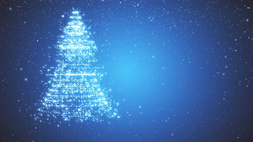 Snowy blue background with a rotating Christmas tree of shiny particles. Festive background with animated text Merry Christmas and Christmas tree. Winter background with falling snowflakes.