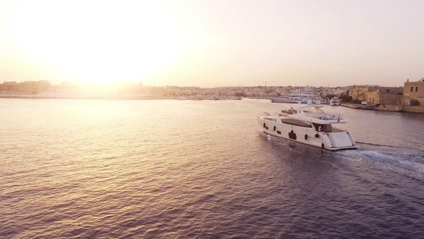 Drone Footage Of Luxury Boat Sailing In Mediterranean Sea Malta