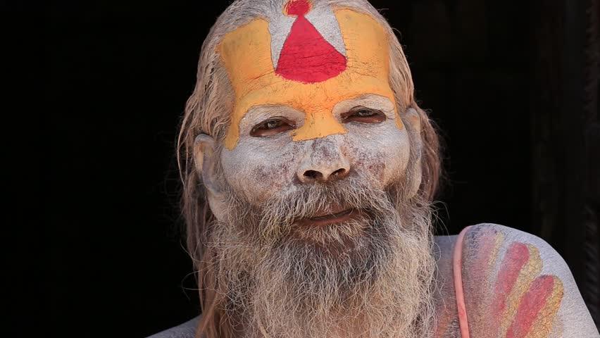 KATHMANDU, NEPAL - OCTOBER 25, 2016 : Portrait of Shaiva sadhu, holy man in Pashupatinath Temple, Nepal