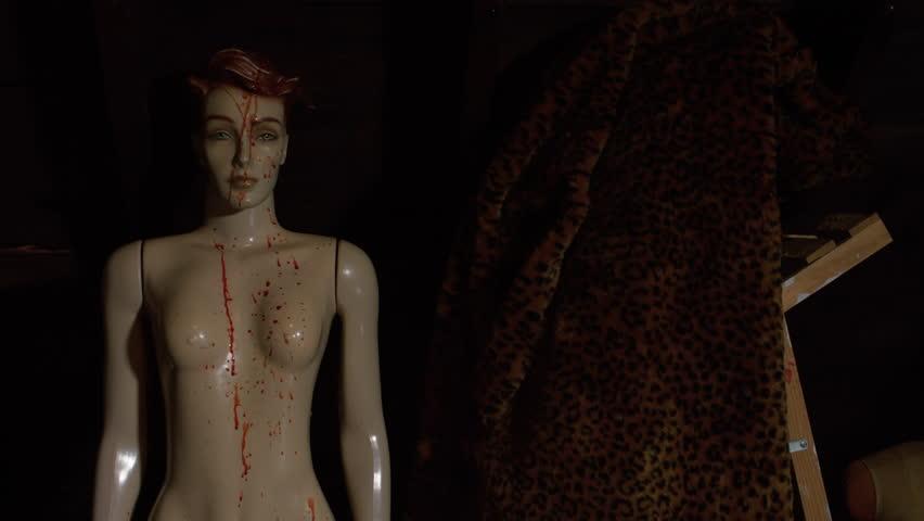 Fake Blood Spattered Mannequin In An Attic Horror Establishing Shot