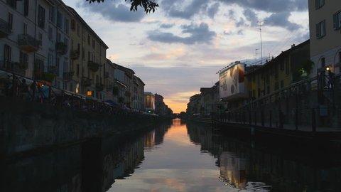milan sunset sky famous navigli lombardi canal reflection bay panorama 4k italy