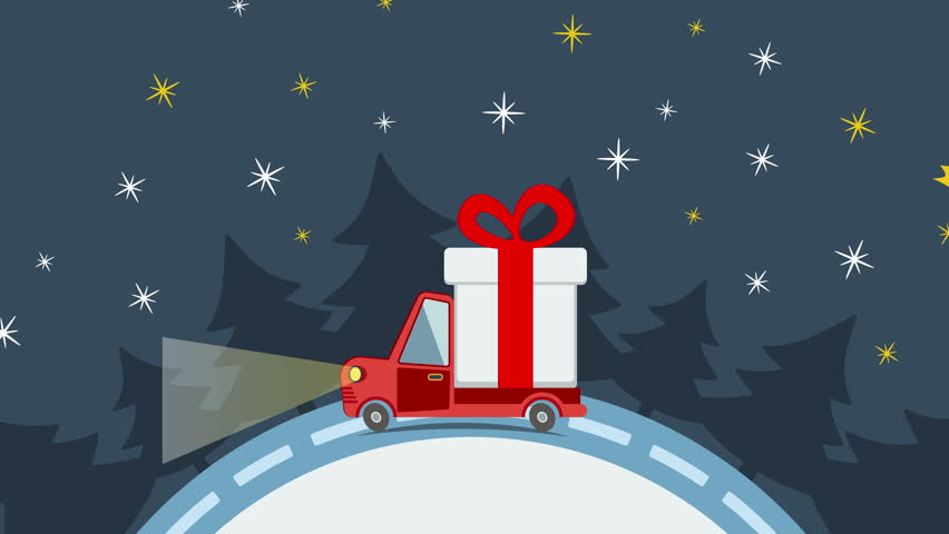 Stock video of christmas and new year animated greeting card with delivery flat transport truck van with gift box packs and christmas tree in xmas eve m4hsunfo Gallery